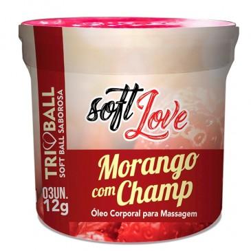 Soft Ball Morango com Champ Bolinha Estimulante