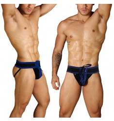 Jockstrap Lace Up Football BLUE Briefs