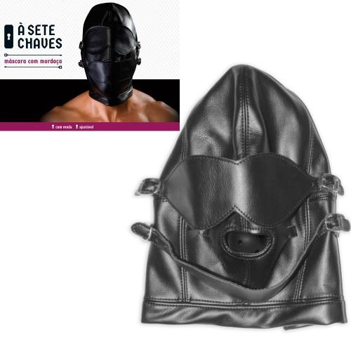 Máscara de Couro com Venda e Mordaça Sexshop Outlet do Prazer